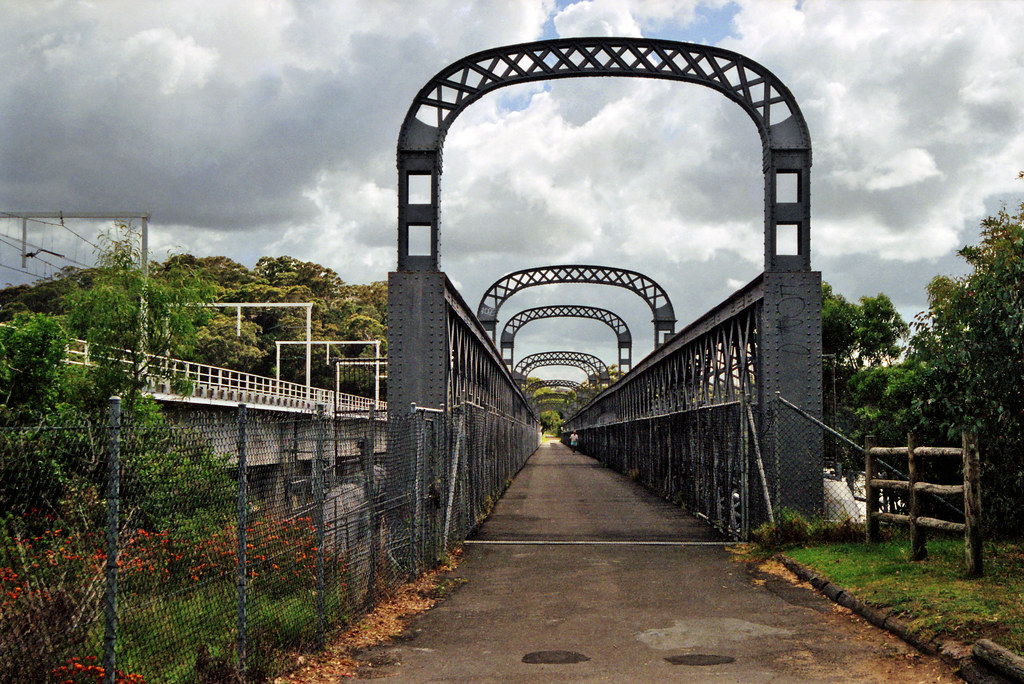 October 1995 - The old Illawarra Line single track width railway bridge crossing the Georges River at Como, New South Wales, Australia