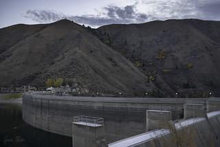 Arrowrock Dam at dusk
