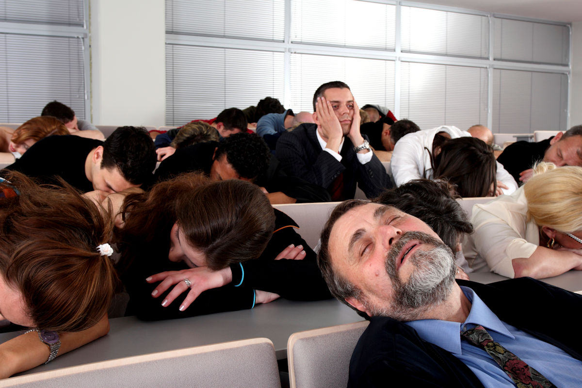 Trainees sleeping in the classroom.
