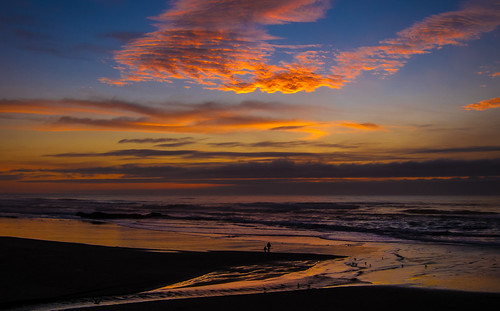 sunset oregoncoast beach silhouette waves clouds walking parentandchild driver reflections