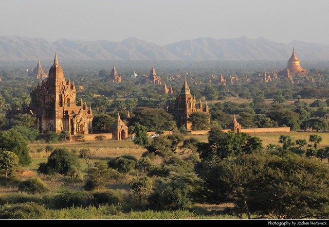 View across the Central Plain of Bagan from Shwesandaw Paya, Myanmar
