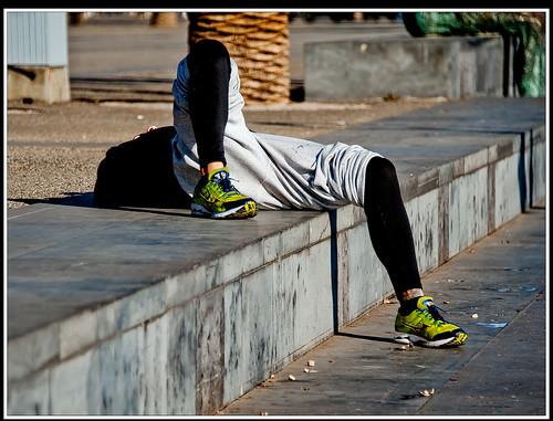 Descansant després de la carrera.