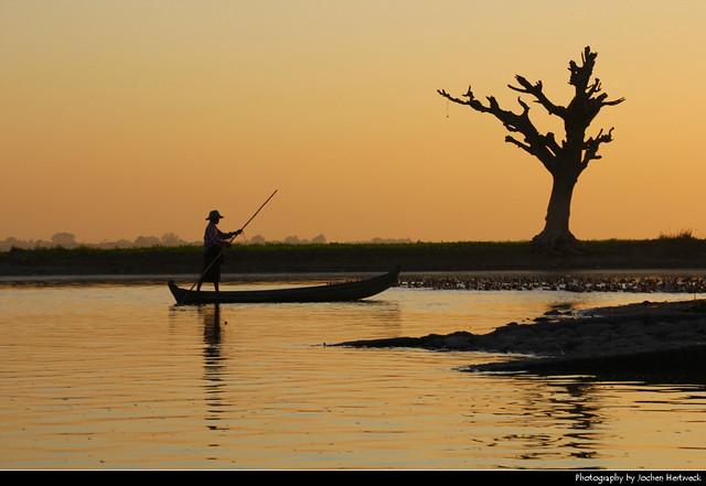 Fisherman at Sunset, Amarapura, Myanmar