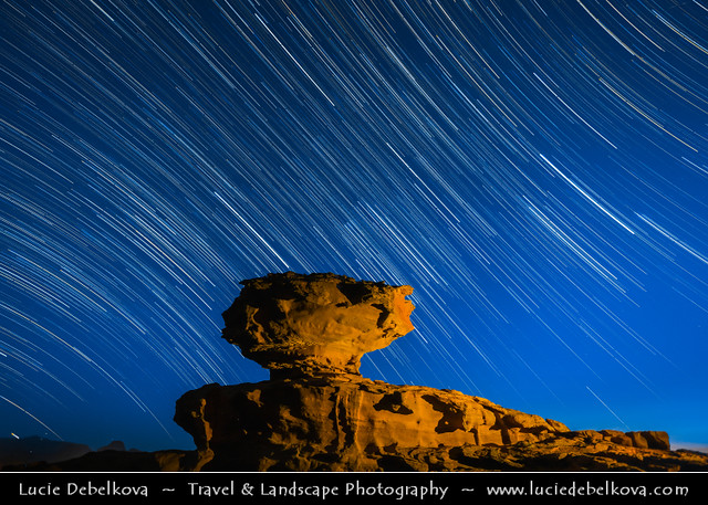 Jordan - Wadi Rum - UNESCO World Heritage Site - Startrails over famous Mushroom rock