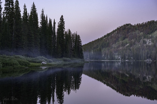 bigtrinitylake lake reflection smoke sunset idaho