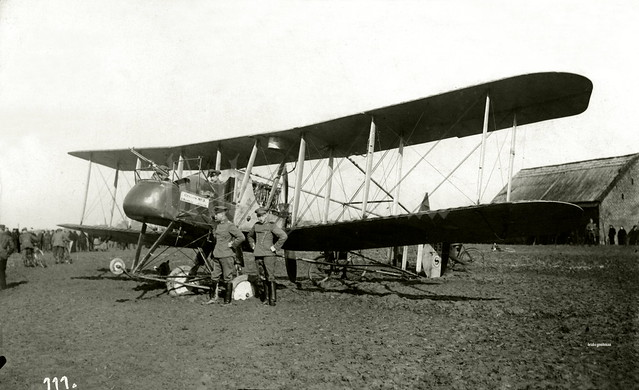 Aircraft 6338, a FE2b belonging to 20 Squadron RFC is examined by Uhlans (lancers) from one of the Garde Ulanen or Saxon Ulanen regiments