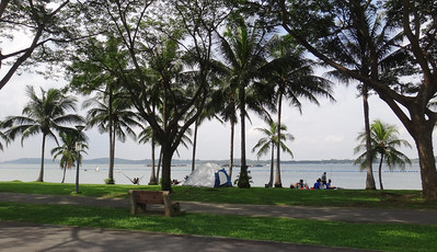 Recreation at Pasir Ris Park overlooking fish farms