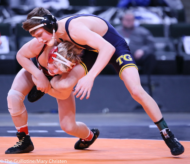 113AA - 1st Place Match - Charlie Pickell (Mankato West) 38-4 won by decision over Jake Svihel (Totino-Grace) 43-4 (Dec 9-7)