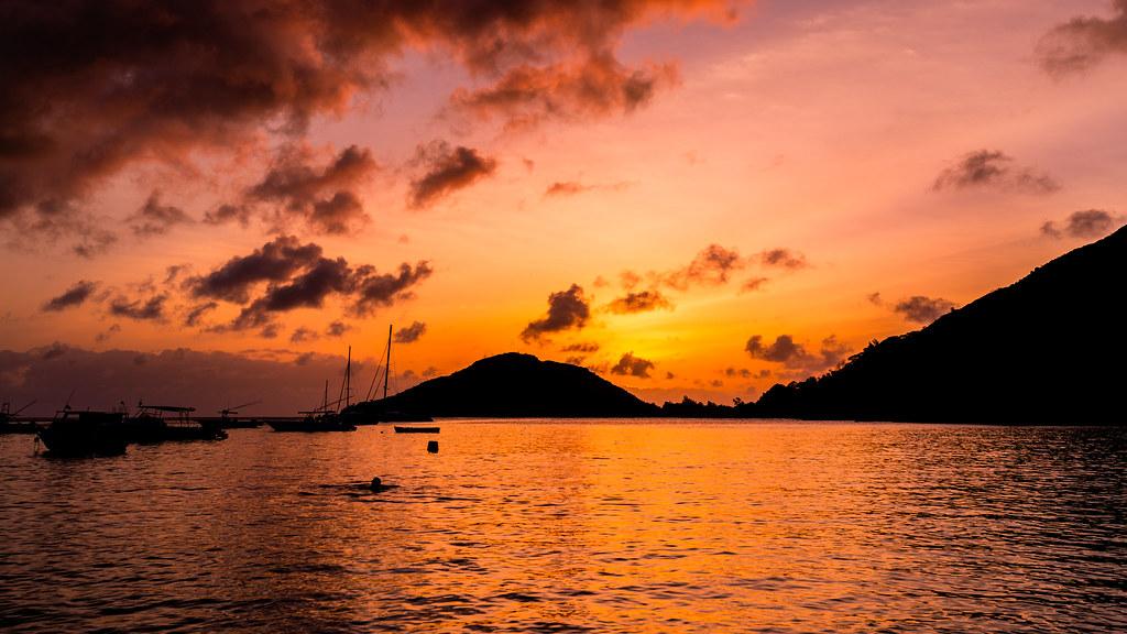 Seychelles Sunset Silhouette
