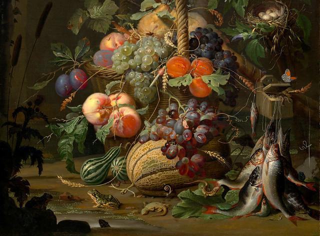 Abraham Mignon, Stillleben mit Früchten, Fischen und einem Nest (Still life with fruit, fish and a nest) Detail