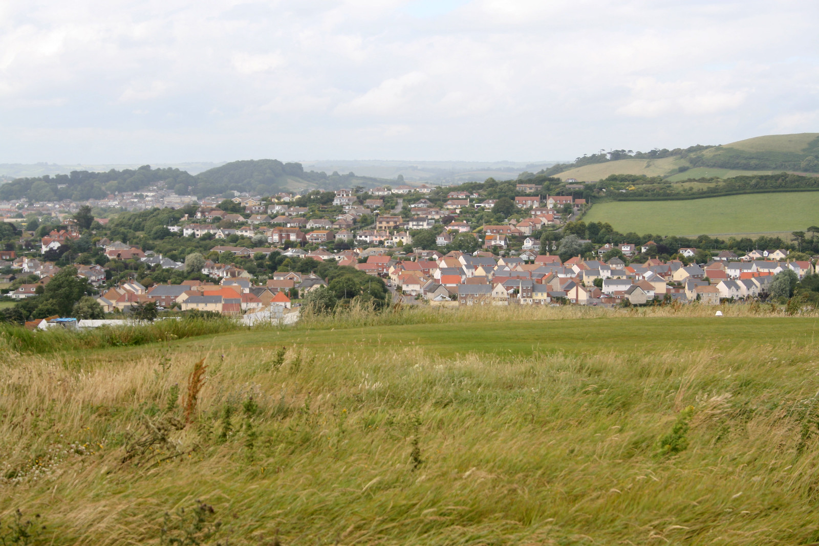Bridport from the coast near West Bay