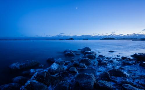 meri blue landscape yö taivas jää talvi hdr bluehour outdoor ranta beach dark ice lowlight night nightscape sea shore sky winter espoo cold
