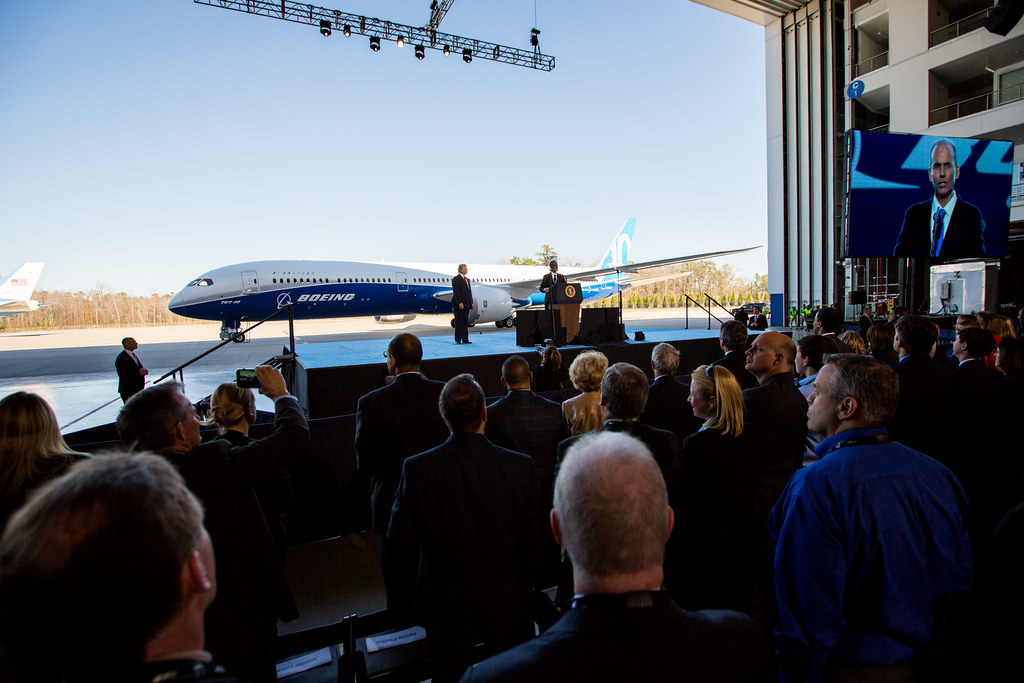 Boeing 787-10 rollout with President Trump