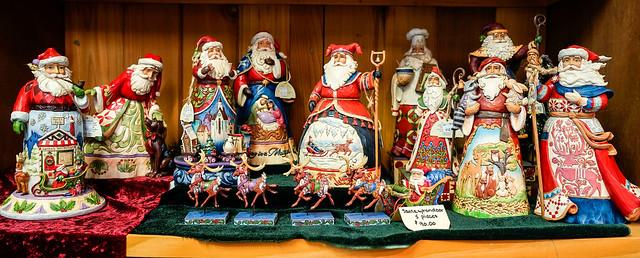 Jim Shore Santa figurines.
