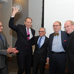 Mon, 02/11/2015 - 9:12pm - From left, WFUV General manager Chuck Singleton, Charlie Rose, Fordham Provost Dr. Stephen Freedman, Charles Osgood, Fordham President Fr. Joseph McShane, S.J.  November 2, 2015 in New York City. Photo by Chris Taggart.