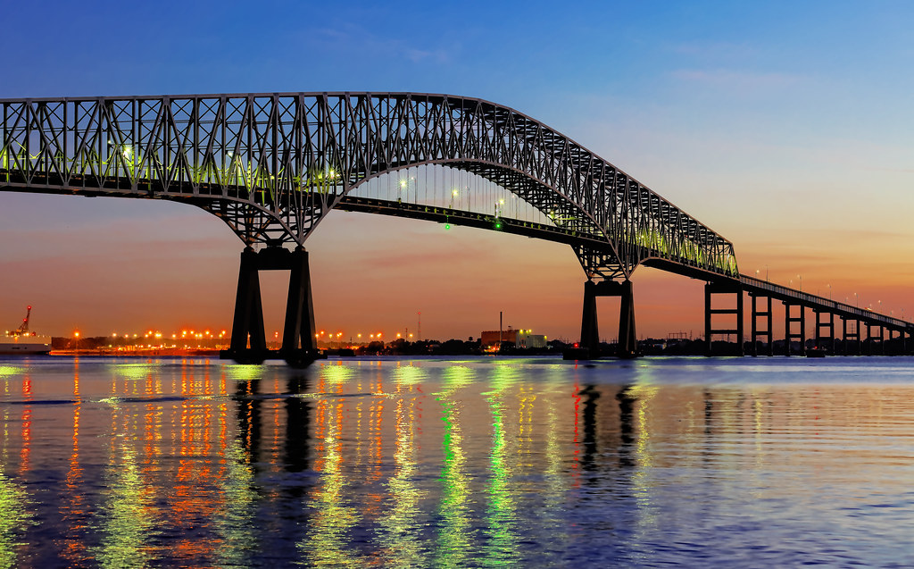 Francis Scott Key Bridge at Dawn - Baltimore, MD