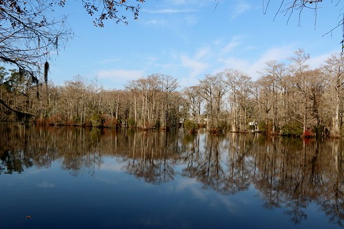 blue trees mill water reflections pond smooth sunny 1700s