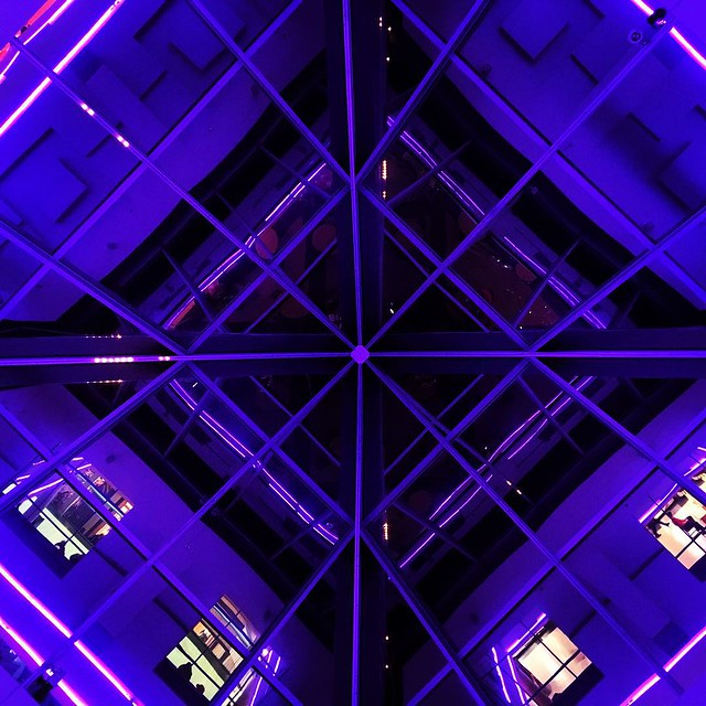 Be The Star. #glass #ceiling #lights #architecture #reflections #purple