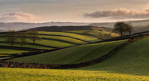 derbyshire whitepeak peakdistrict drystonewalls limestone fields light shadow winter countryside farmland