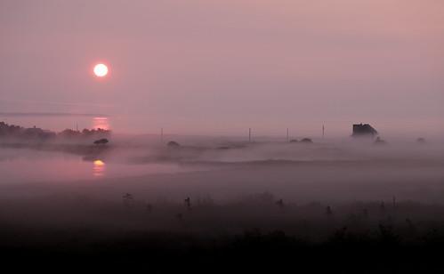 ca morning sun mist lake canada sunrise haze novascotia view kingsburg riverport dscf1331