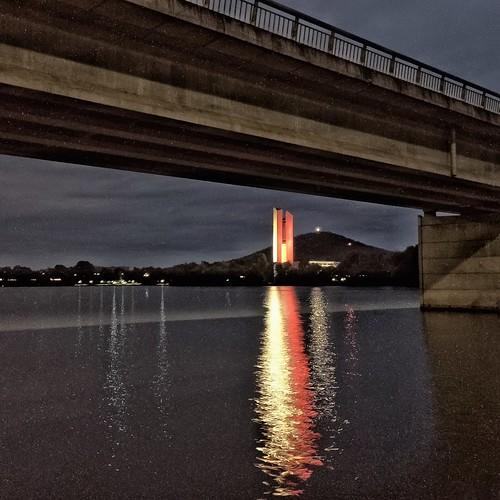 The National Carillon, Kings Avenue Bridge, and Lake Burley Griffin - Parkes - ACT - Australia - 20151115 @ 05:21