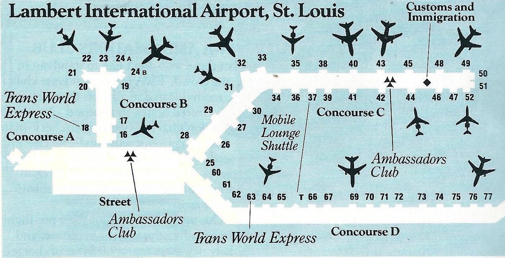 TWA STL diagram, 1988   A Trans World Airlines (TWA) diagram ... Map Of St Louis Airport Terminals on map of washington dulles airport terminals, map of houston hobby airport terminals, map of philadelphia airport terminals, map of las vegas airport terminals, map of fort lauderdale airport terminals, map of chicago airport terminals, map of dallas fort worth airport terminals, map of denver airport terminals, map of seattle airport terminals, map of san jose airport terminals, map of miami airport terminals, map of orlando airport terminals, map of oakland airport terminals, map of paris airport terminals, map of phoenix airport terminals, map of washington dc airport terminals, map of toronto airport terminals, map of salt lake city airport terminals, map of honolulu airport terminals, map of sacramento airport terminals,