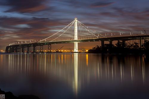 sf sanfrancisco longexposure water reflections dawn oakland bay bridges bluesky baybridge bayarea sfbayarea daybreak silky portofoakland sanfranciscobridges dawncolors baybridgeeasternspan