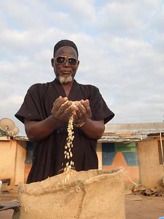 Farmer in Ghana with seed