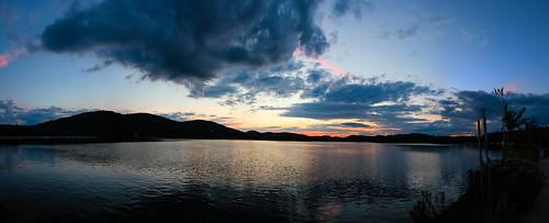 sunset summer sky lake mountains silhouette clouds lac ciel été nuages coucherdesoleil montagnes 2015 lacdessables sainteagathedesmonts baiemajor