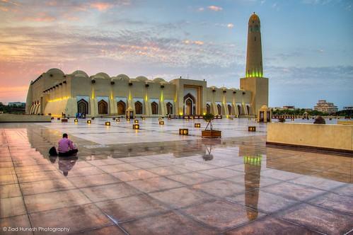 sunset reflection canon mosque tamron hdr doha qatar 650d zhunesh 16300mm
