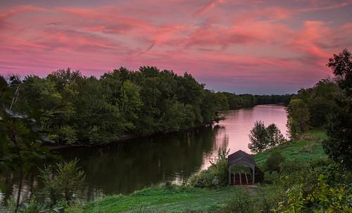 bridge pink sunset sky cloud reflection green grass river evening october michigan ottawa sigma grandriver westmichigan 2015 ottawacounty canon60d kevinpovenz ottawacountyparks grandravinesnorth