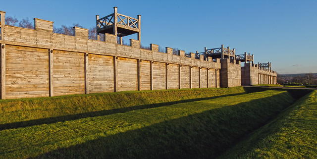 Reconstructed gate and wall of the ancient Roman fortress in Haltern am See