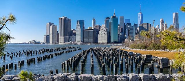 View of Lower Manhattan skyline from Brooklyn Bridge Park