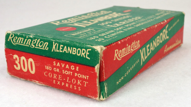 RD14570 Vintage Remington Kleanbore 300 Savage Express 180 Gr. Soft Point Ammo Box with 20 Empty Brass Casings DSC06999