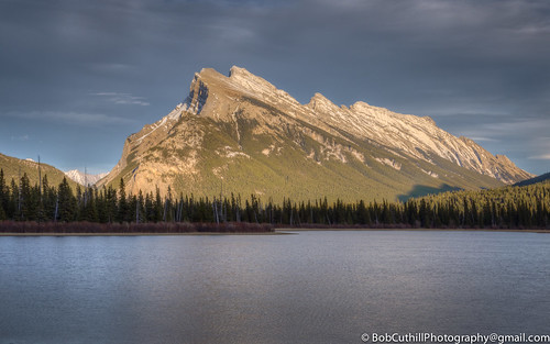 park sunset summer copyright mountain lake canada mountains reflection tourism nature canon outdoors eos town nationalpark ab resort alberta destination banff iconic stillness mountrundle settingsun banffnationalpark 6d vermilionlake albertatourism canon6d canoneos6d bobcuthillphotographygmailcom firstvermilionlake bobcuthill
