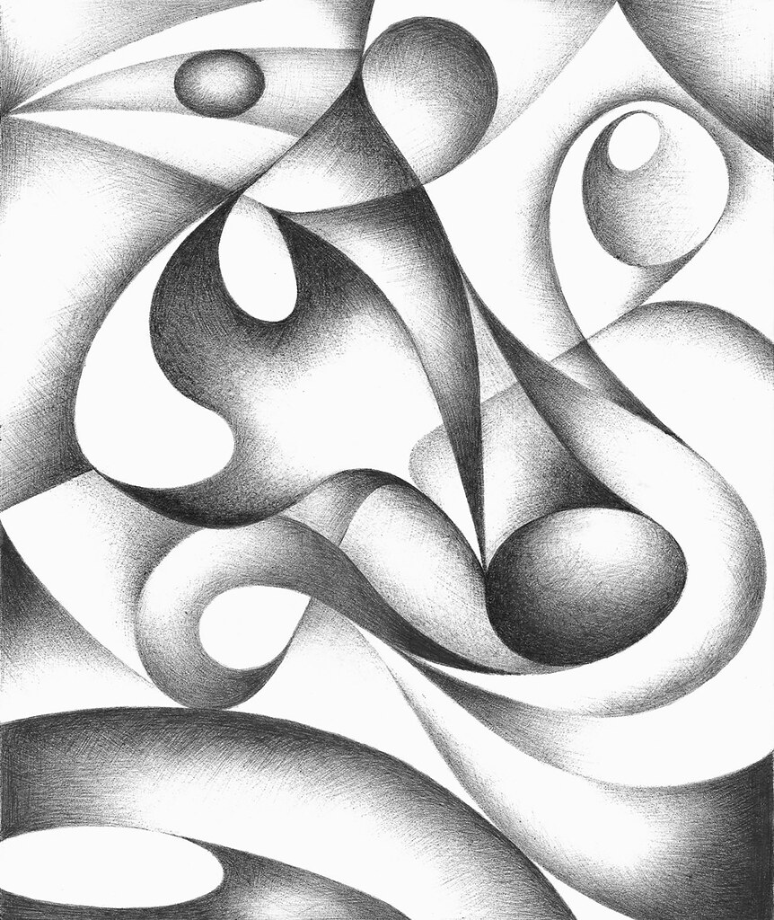 Original Abstract Drawing Black And White Geometric Om