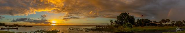 Sunset over Lake Washington (Florida) with rainbow