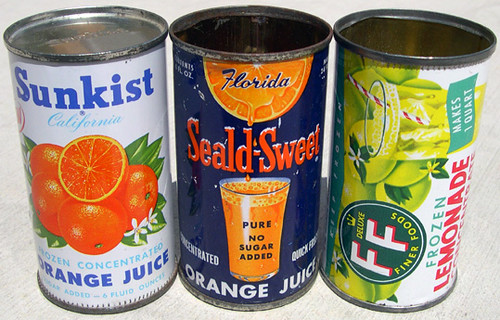 Orange Juice and Lemonade Cans, 1950's