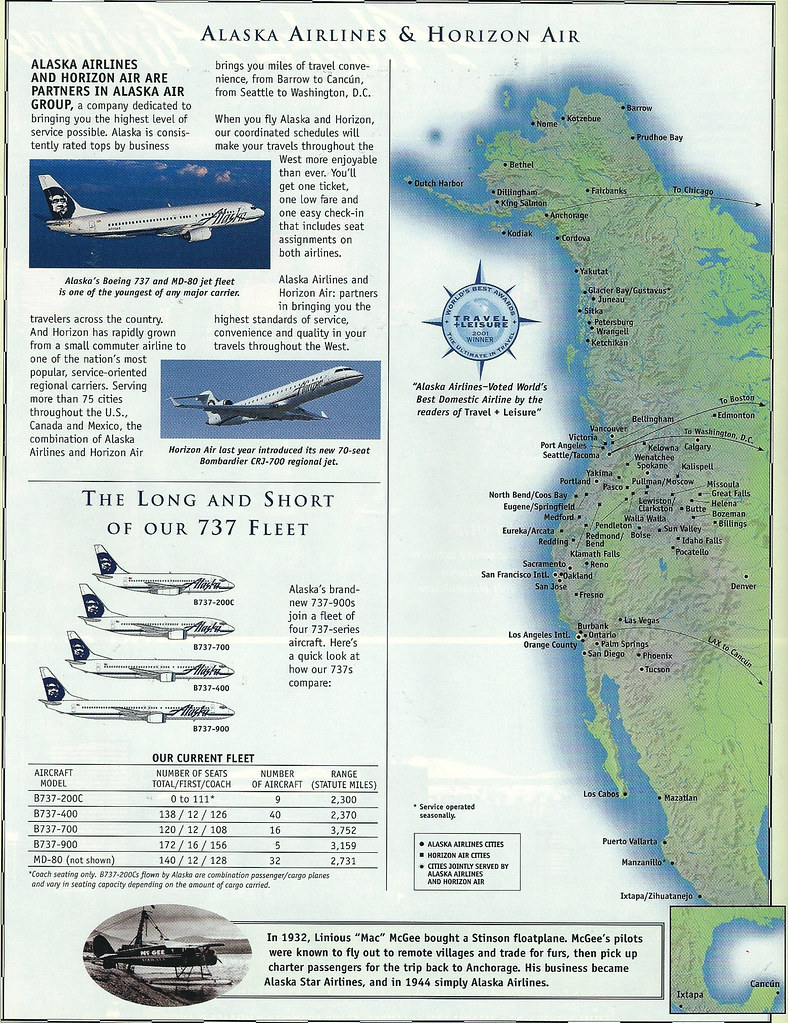 Alaska and Horizon Air cities, May 2002 | An Alaska Airlines ...