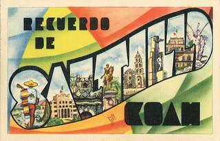 Recuerdo de Saltillo, Coah (Coahuila, Mexico) - Large Lett