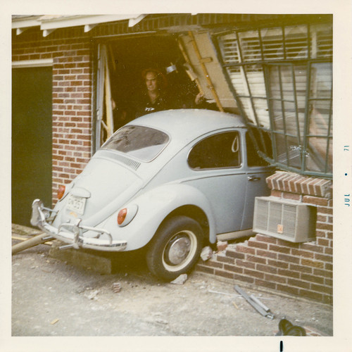 Volkswagen Beetle crashed through a brick wall | by simpleinsomnia