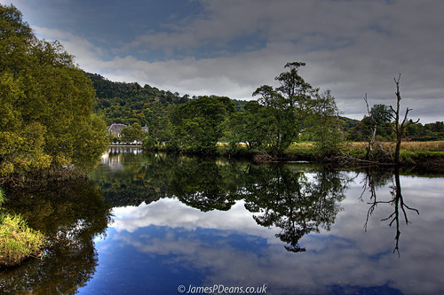 callander europe landscape publicutilities riverteith scotland stirlingshire uk unitedkingdom industry river water reflection britain gb