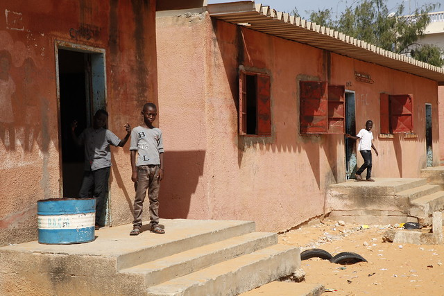 Children play at lunchtime in the yard of L'Ecole PAC in Dakar, Senegal.