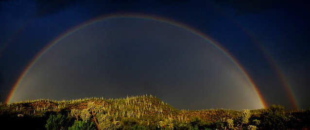 Rainbow with morning showers; San Pedro River Valley, AZ