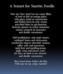 A Sonnet for Suzette, Foodie
