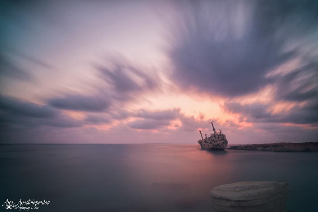 Shipwreck sunset at Peyia