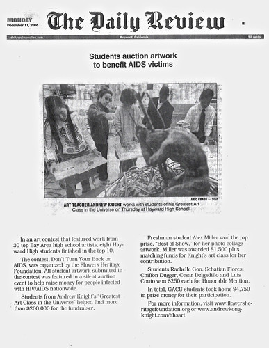 Greatest Art Class in the Universe Daily Review Article - GACU Art Students Win AIDS Art Contest | by Award-winning Artist & Art Educator