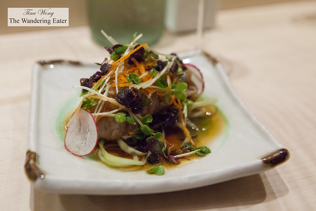 Evening's special - Chutoro tataki with shredded root vegetables