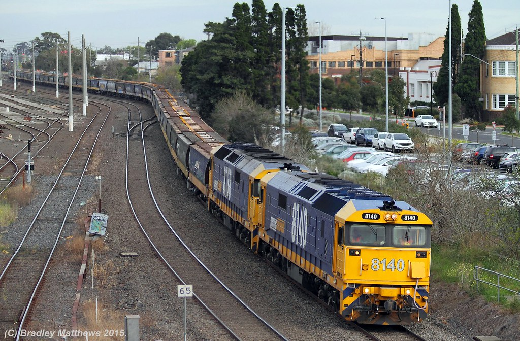 8140-8158 with 3CM6 up loaded PN SG grain from Yarrawonga/McIntyre Loop to Appleton Dock at West Footscray (26/8/2015) by Bradley Matthews