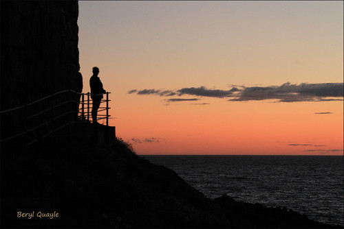 sunset sea sky orange man castle clouds calm cliffs clear peel isle atmospheric isleofman pathway silouhette